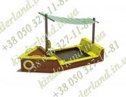 """Песочница  """"Лодка"""" с навесом и ящиком для игрушек"""